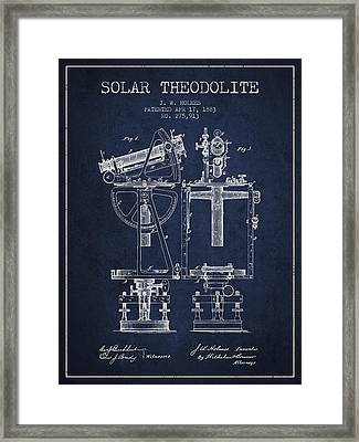 Solar Theodolite Patent From 1883 - Navy Blue Framed Print by Aged Pixel