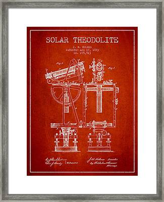 Solar Theodolite Patent From 1883 - Red Framed Print by Aged Pixel