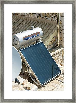 Solar Thermal Panels On A House Roof Framed Print by Ashley Cooper