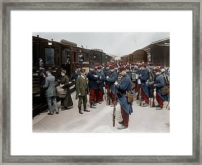 Soldats Francais A La Gare De Dunkerque Framed Print by Granger