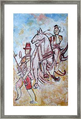 Framed Print featuring the painting Solder And Horse by Anand Swaroop Manchiraju