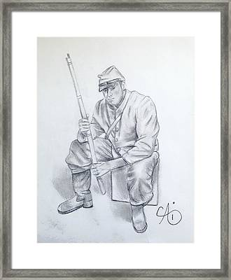 Waiting Soldier Framed Print