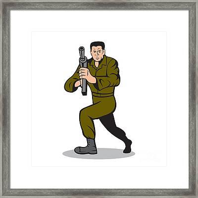 Soldier Aiming Sub-machine Gun Cartoon Framed Print