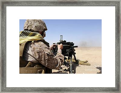 Soldier Fires The Mk. 19 Grenade Framed Print