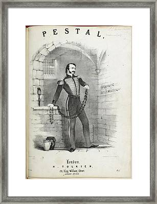 Soldier In Chains In A Prison Cell Framed Print by British Library
