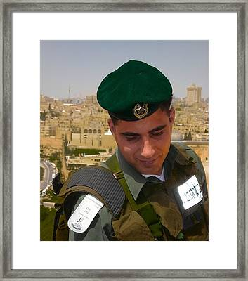 Soldier Of The Golden City Framed Print by Sandra Pena de Ortiz