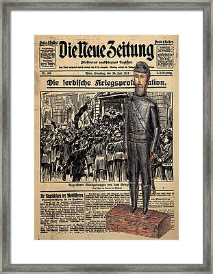 Soldier On Newspaper Collage Framed Print