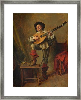 Soldier Playing The Theorbo Framed Print by Ernest Meissonier