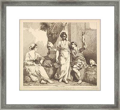 Soldiers Courtship From The Life Framed Print