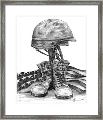 Soldiers Cross Remember The Fallen Framed Print by J Ferwerda