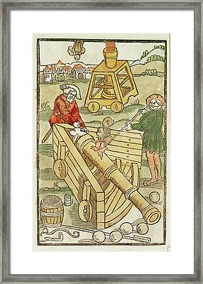 Soldiers Firing A Cannon Framed Print by British Library