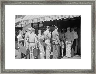 Soldiers From Fort Benning At The Bus Framed Print by Stocktrek Images