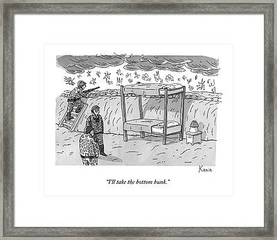 Soldiers In A Trench Talk.  There Is A Bunk Bed Framed Print by Zachary Kanin
