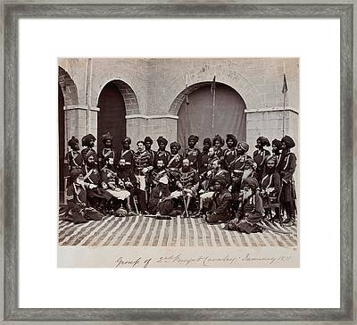 Soldiers Of The 2nd Punjab Cavalry Framed Print by British Library