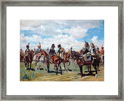 Soldiers On Horseback Framed Print by Jean-Louis Ernest Meissonier
