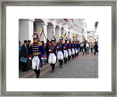 Soldiers Parade During Changing Framed Print by Panoramic Images