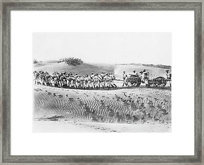 Soldiers Pulling Field Guns Framed Print by Library Of Congress