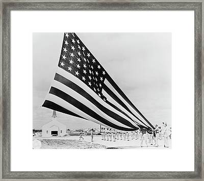 Soldiers Unfolding Garrison Flags Framed Print