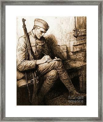 Soldier's Valentine 1918 Framed Print