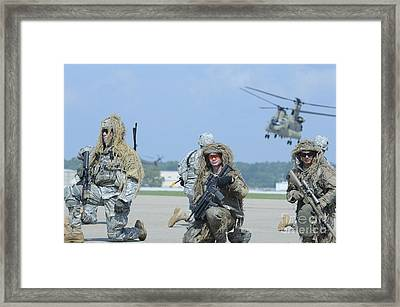 Soldiers Wearing Ghillie Suits Take Framed Print by Stocktrek Images