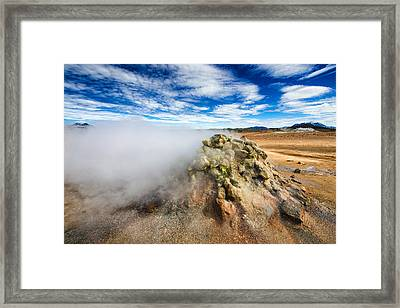 Solfatara Field Hverir With Steaming Fumarole In Iceland Framed Print