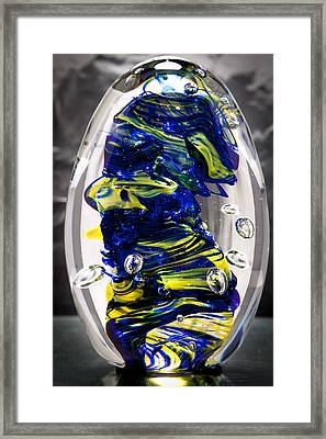 Solid Glass Sculpture -13e4- Cobalt And Yellow  Framed Print by David Patterson
