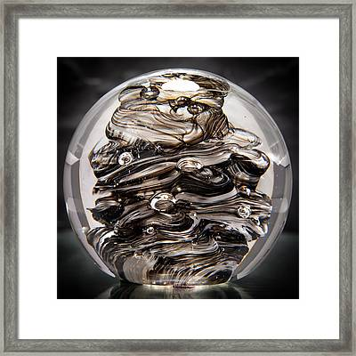 Solid Glass Sculpture 13r9 Black And White Framed Print by David Patterson