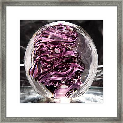 Solid Glass Sculpture Rp5 - Purple And White Framed Print by David Patterson