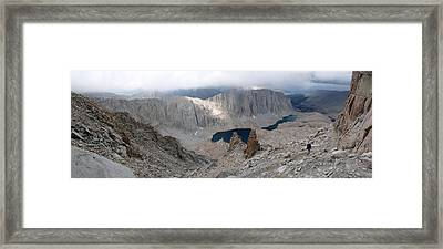 Solitary Hiker Panorama Framed Print by Alan Socolik