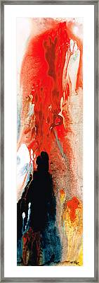 Solitary Man - Red And Black Abstract Art Framed Print