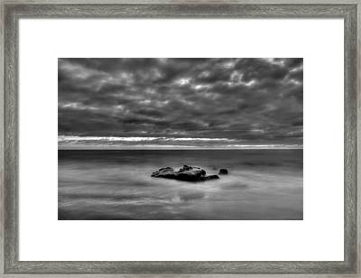 Solitary Rock - Black And White Framed Print by Peter Tellone