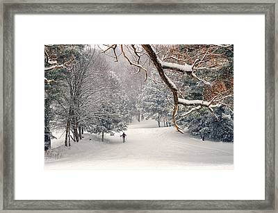 Solitary Skier At Otis Ridge Framed Print by Geoffrey Coelho