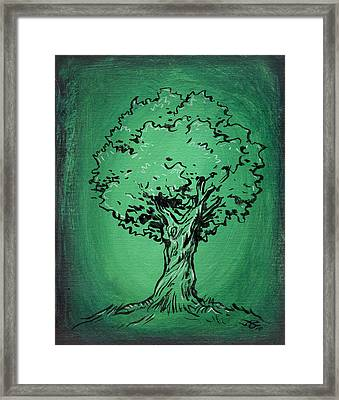 Solitary Tree In Green Framed Print by John Ashton Golden