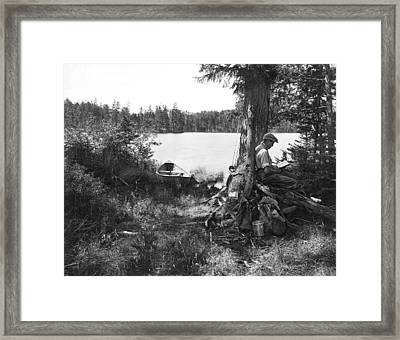 Solitude In The Woods Framed Print by Underwood Archives