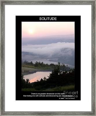 Framed Print featuring the photograph Solitude by Mary Lou Chmura