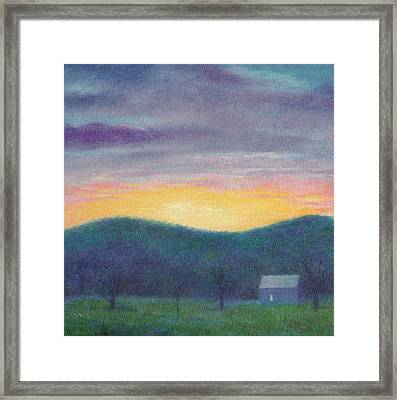 Blue Yellow Nocturne Solitary Landscape Framed Print