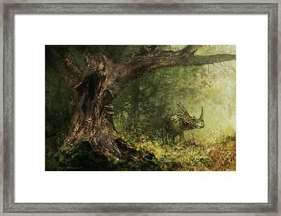 Solitude - Styracosaurus Framed Print by Angie Rodrigues