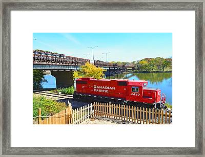 Solo Red Canadian Pacific Engine Along Rock River In Rockford Framed Print