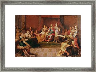 Solomon And His Women  Framed Print by Frans II the Younger Francken