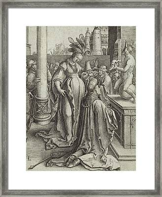 Solomon Prays In Front Of A Graven Image Framed Print by Lucas van Leyden