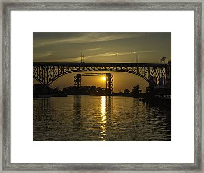 Solstice Sun Through Two Bridges Framed Print