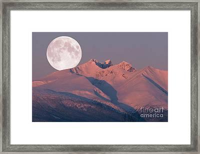 Solstice Sunrise Alpenglow Full Moon Setting Framed Print