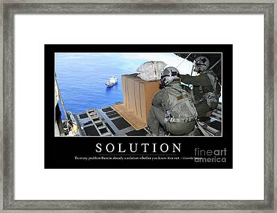 Solution Inspirational Quote Framed Print