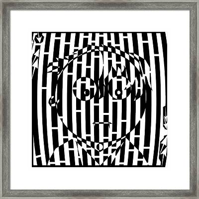 Somber Long Bangs One Earing Maze  Framed Print by Yonatan Frimer Maze Artist