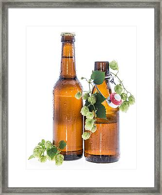 Some Bottles Of Beer With Hops On White Framed Print by Handmade Pictures