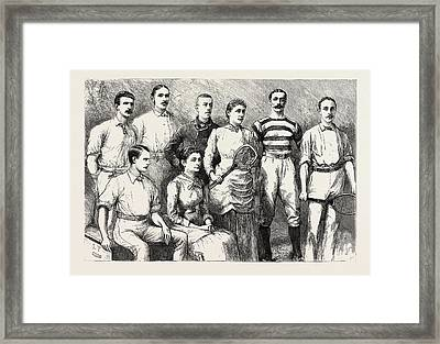 Some English Lawn Tennis Players, Engraving 1884, Uk Framed Print by English School