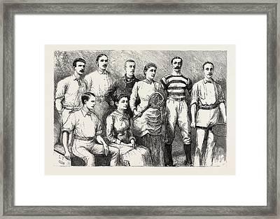 Some English Lawn Tennis Players, Engraving 1884, Uk Framed Print