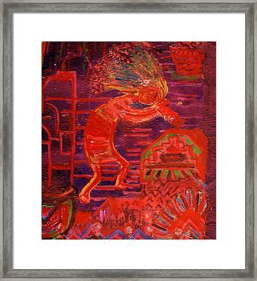 Some Like Kokopelli Hot Framed Print by Anne-Elizabeth Whiteway
