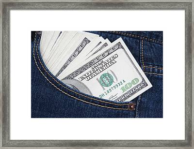 Some Us $100 Bills In A Jeans Pocket Framed Print by Jaynes Gallery