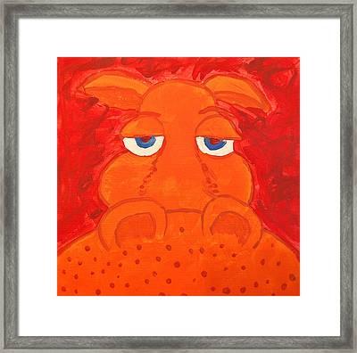 Some What Annoyed Orange Hippo Framed Print